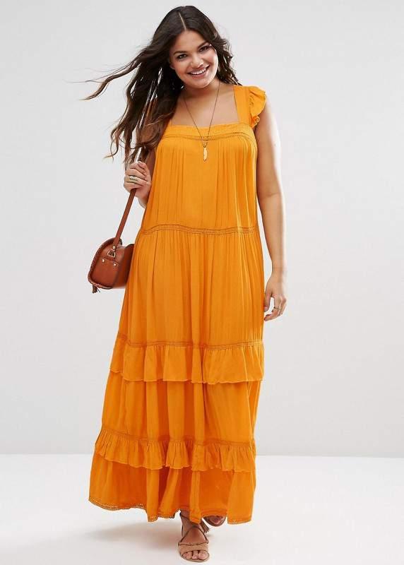 Boho Maxi Dress with Ruffles & Lace Insert