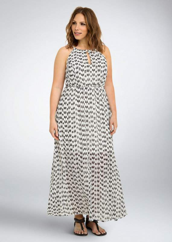 Arrow Print Halter Maxi Dress