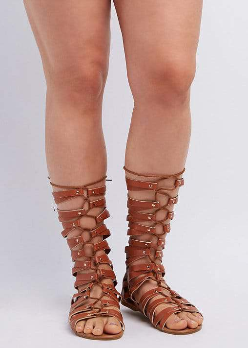 Wide Width & Calf Lace-Up Gladiator Sandals at CharlotteRusse
