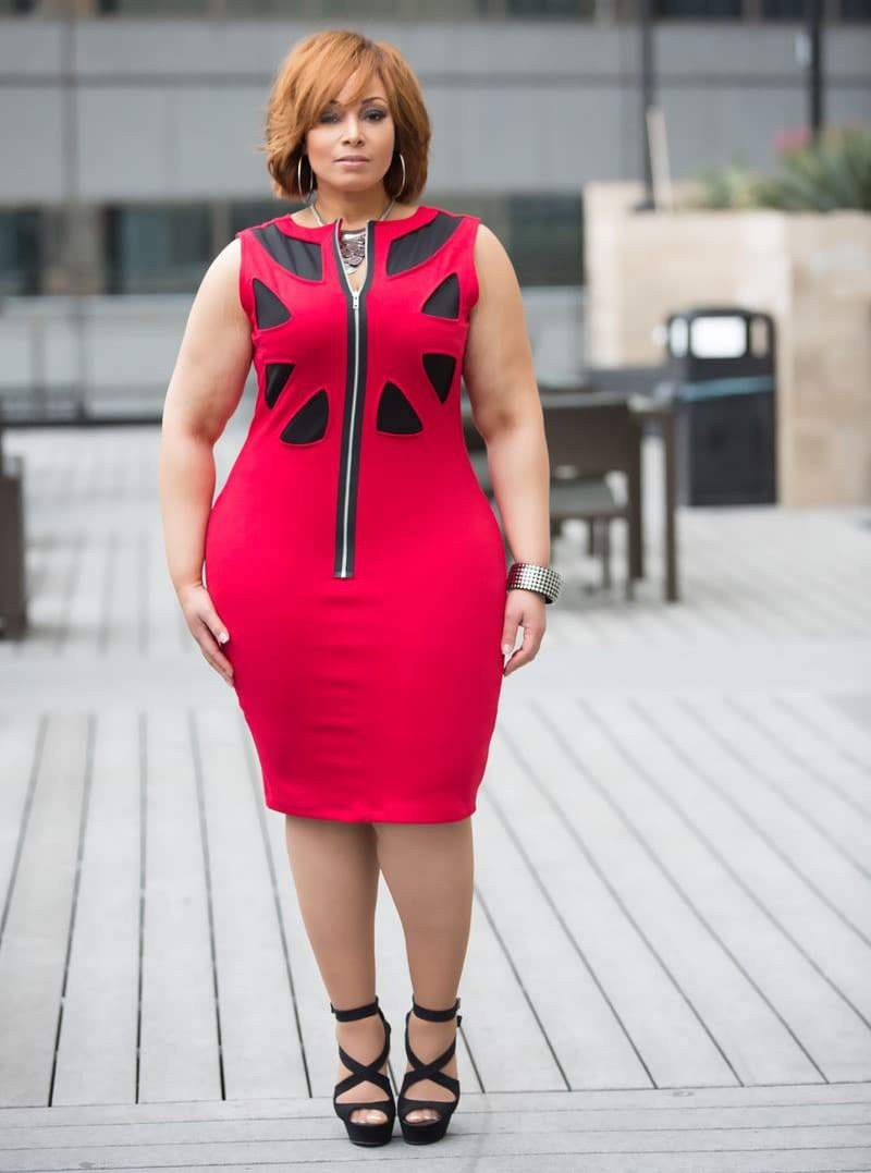 The Plus Size Black/Red Bree Dress available at Shavonne Dorsey