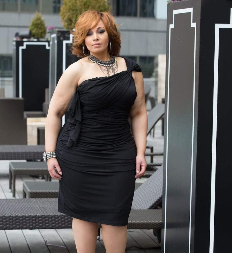 The Mina Plus Size Dress in Black available at Shavonne Dorsey