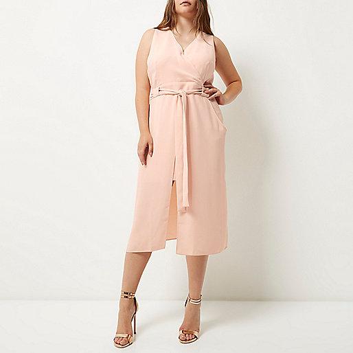 RI Plus light pink double layer dress