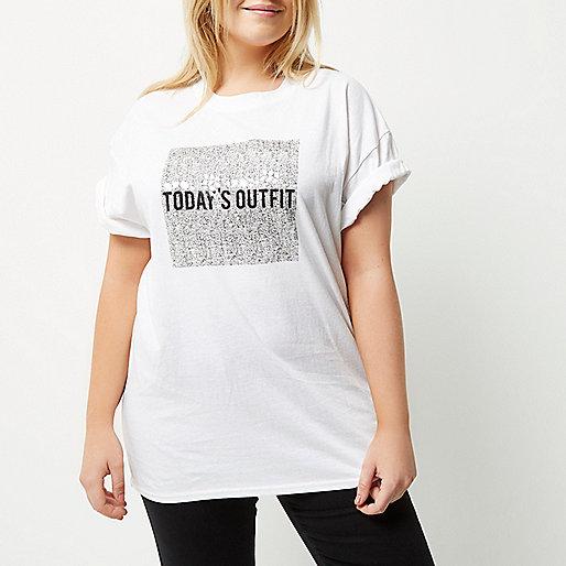 RI Plus white box print t-shirt