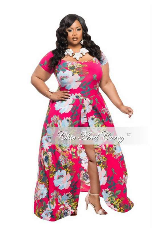 New Plus Size Romper with Attached Long Skirt in Floral Print