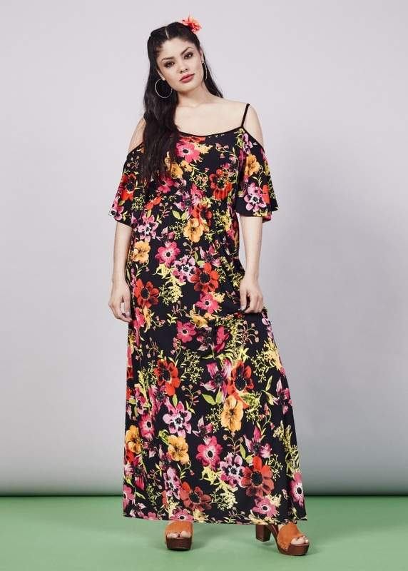 Cold Shoulder Print Maxi Dress at SimplyBe