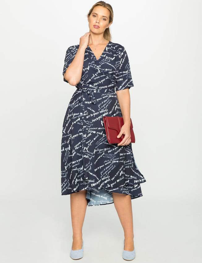 Printed Elbow Sleeve Wrap Dress