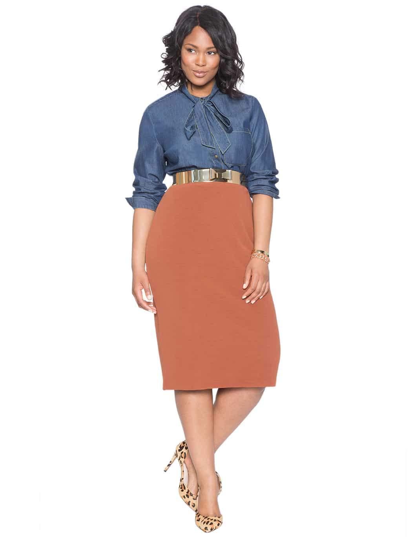 Plus Size Ottoman Textured Pencil Skirt at Eloquii