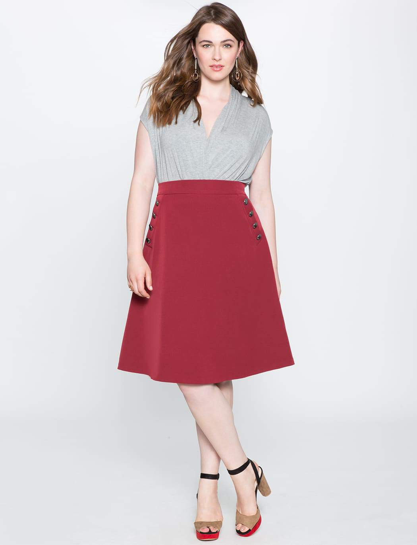 Plus Size Button A-line Skirt at Eloquii