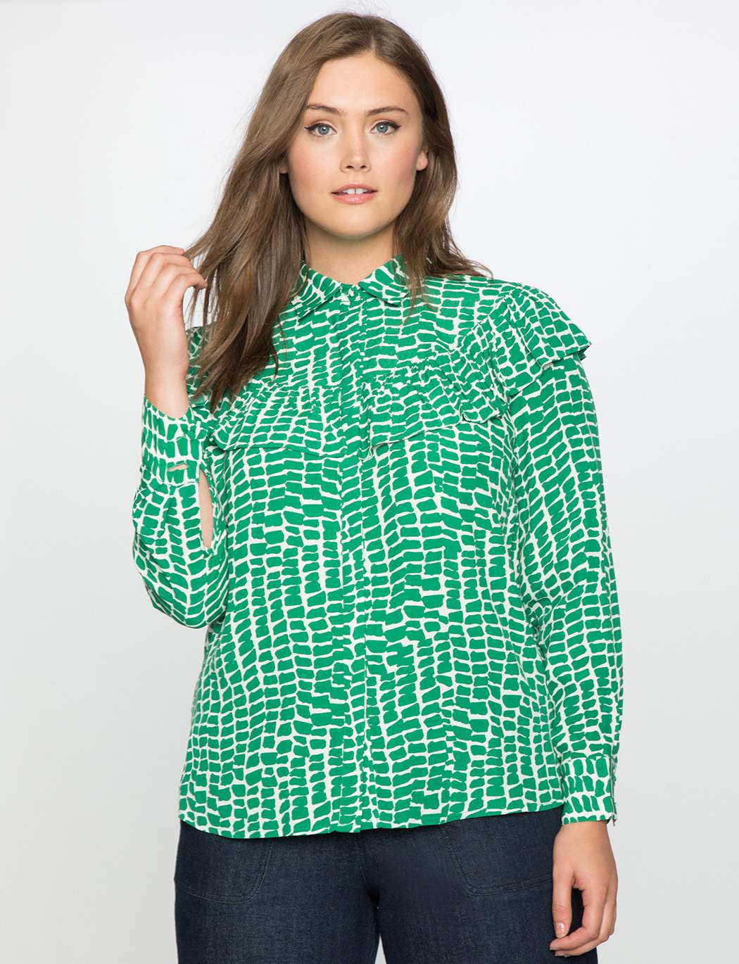 Plus Size Printed Button Front Blouse with Ruffle Detail at Eloquii