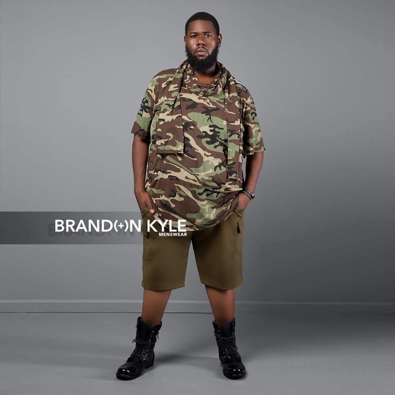 Brandon Kyle Plus Menswear- Scarf Longline Shirt