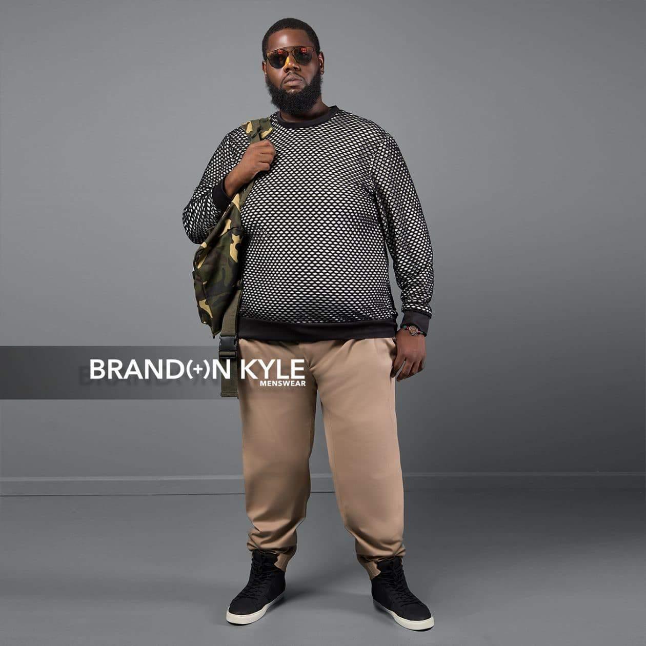 Brandon Kyle Plus Menswear- Netted Crewneck Shirt
