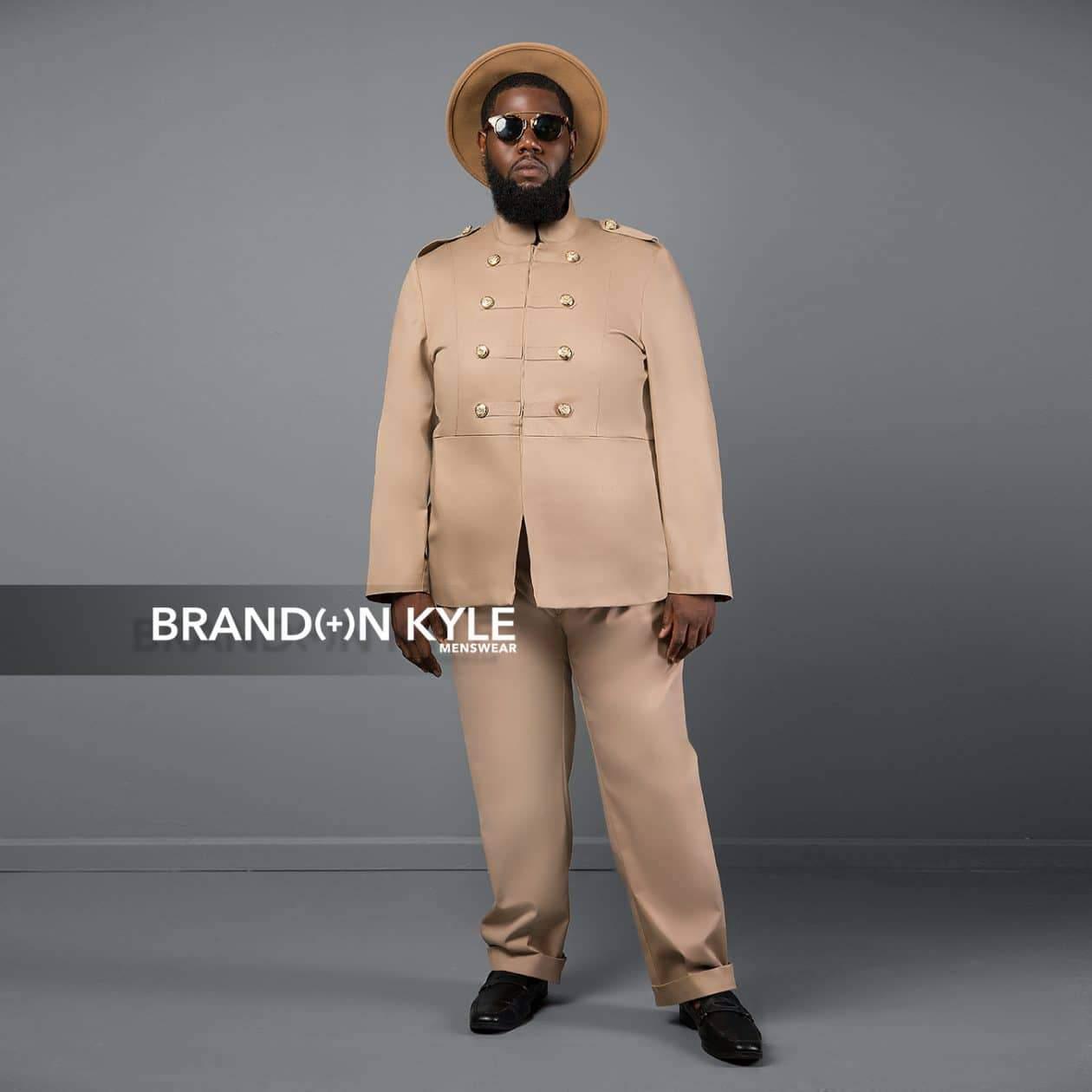 Brandon Kyle Plus Menswear- Military Jacket Khaki