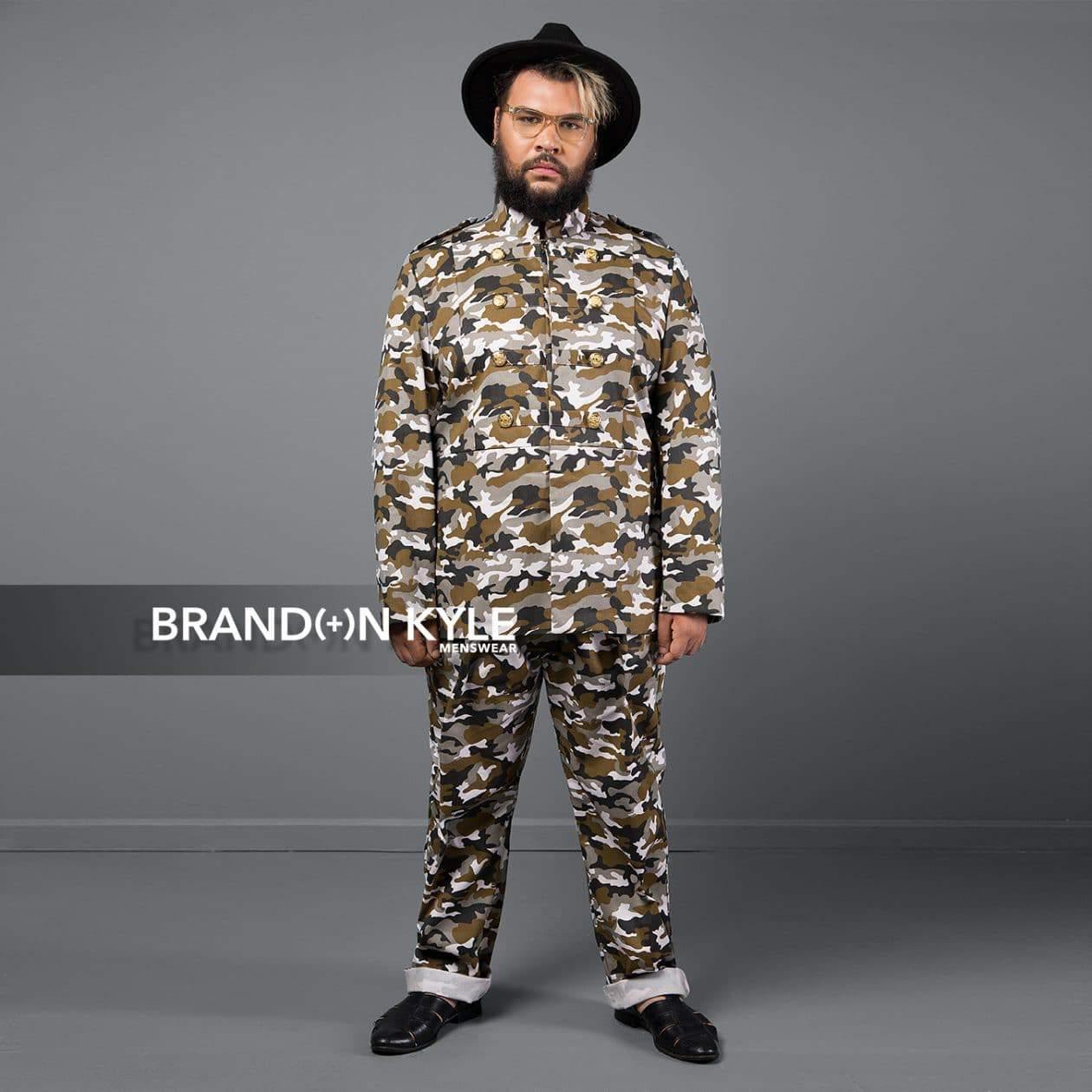 Brandon Kyle Plus Menswear- Military Jacket Camo