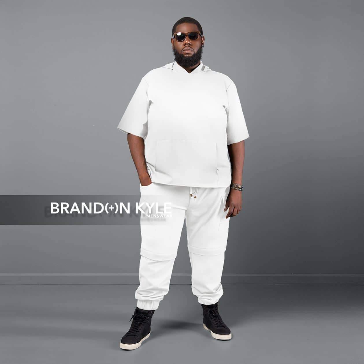 Brandon Kyle Plus Menswear- Hooded Short Sleeve Shirt