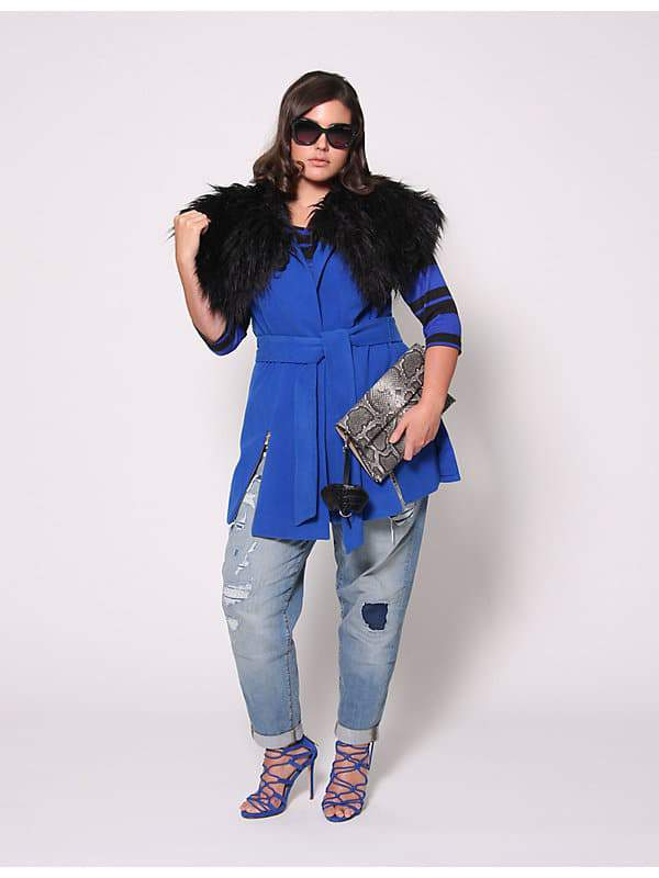Christian Siriano for Lane Bryant Vest with Fur Collar