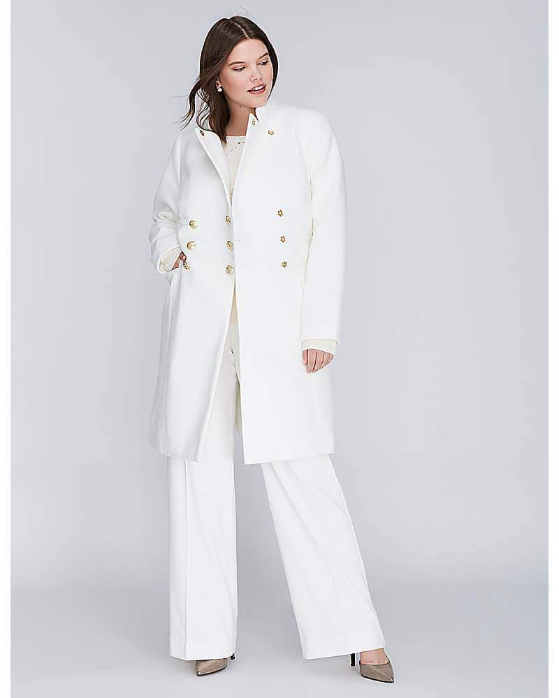 white Plus Size Double Breasted Coat from Lane Bryant