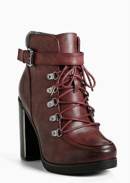 Lace Up Combat Metal Heel Boots