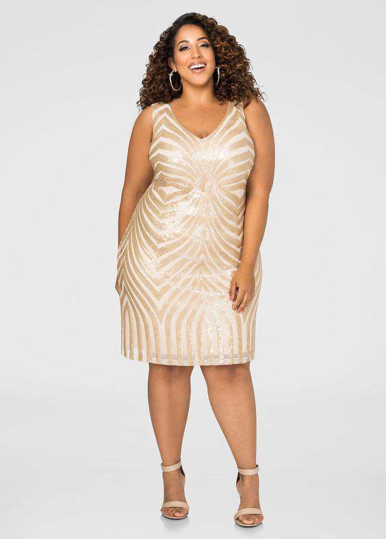 Sequins Dress- Ashley Stewart