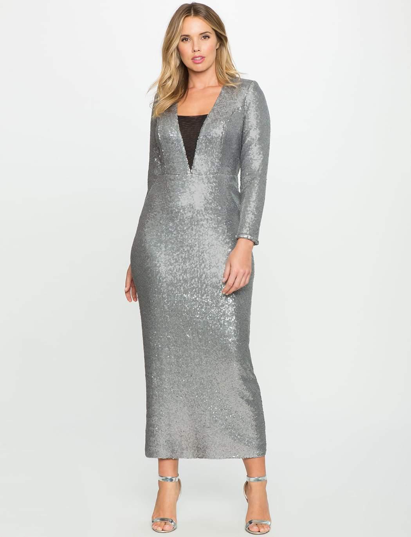 Sequin Dress-Eloquii Silver
