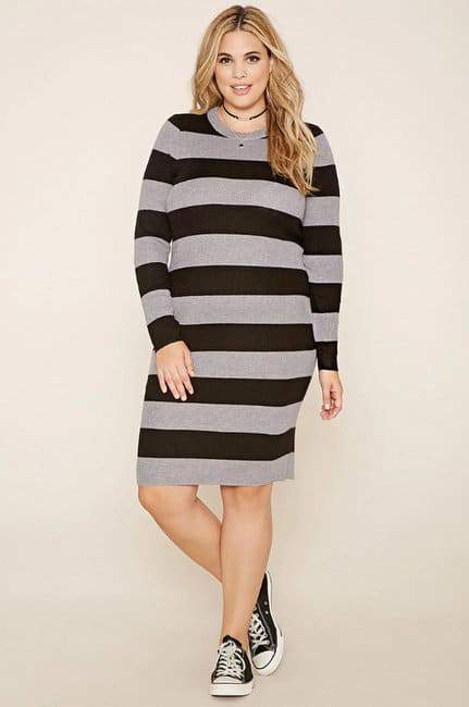 Plus Size Striped Rib Sweater Dress