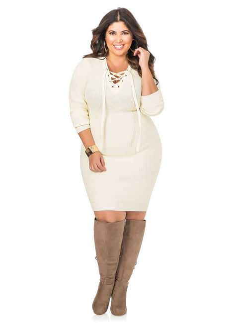 Lace-Up Bodycon Plus Size Sweater Dress