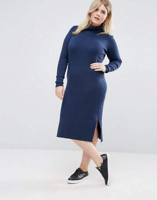 Junarose Roll Neck Plus Size Knitted Dress