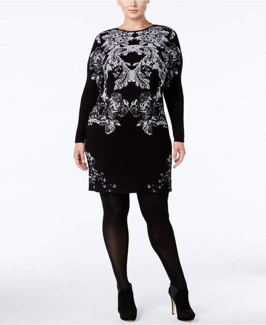 INC International Concepts Plus Size Floral Sweater Dress