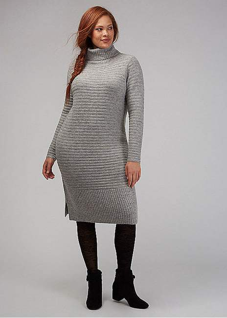 Drape-Neck Midi Sweater Dress