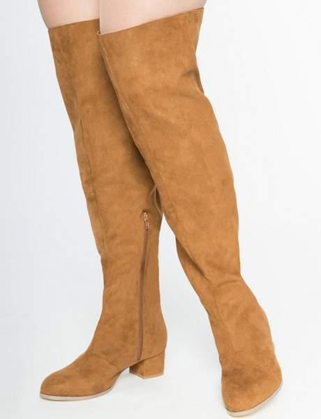Over the Knee Wide Calf Block Heel Boot at eloquii