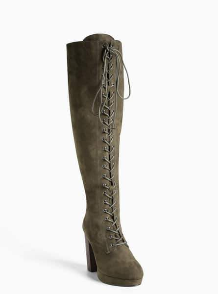 Lace Up Platform Heel Wide Calf Boots at Torrid