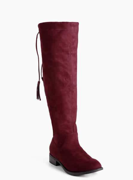 Faux Suede Scrunch Knee Boots at Torrid