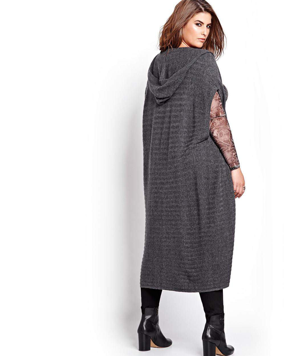 Michel Studio Long Knit Vest with Hood