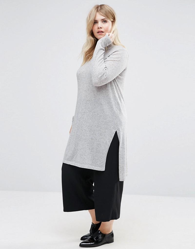 Junarose Funnel Neck Longline Knitted Sweater With Side Splits