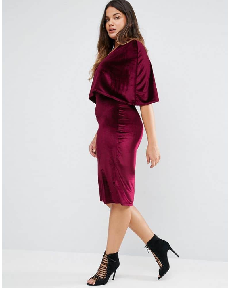 Club L Plus Cape Velvet Midi Dress