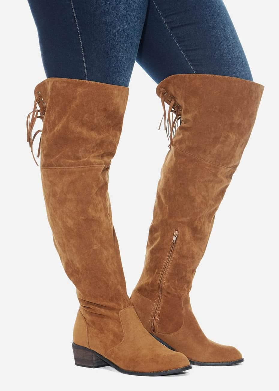Duke Faux Suede Tassel Knee High Boots 2