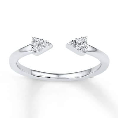Triangle Midi Ring Diamond Accents Sterling Silver