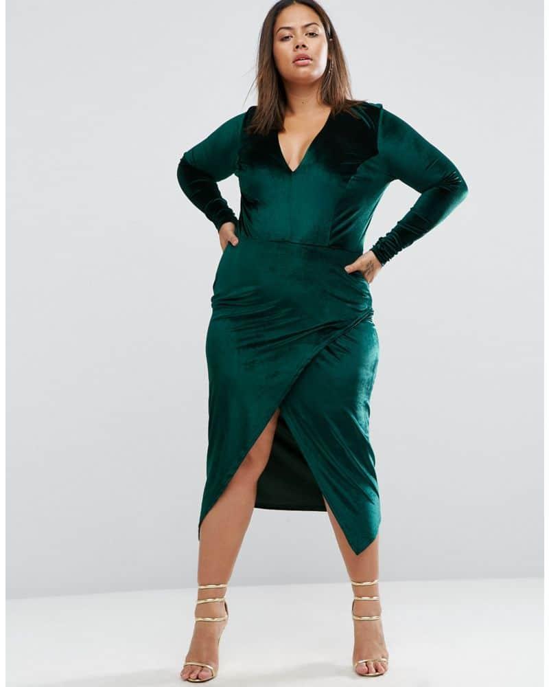 Club L Plus Velvet Dress With Asymmetric Hem