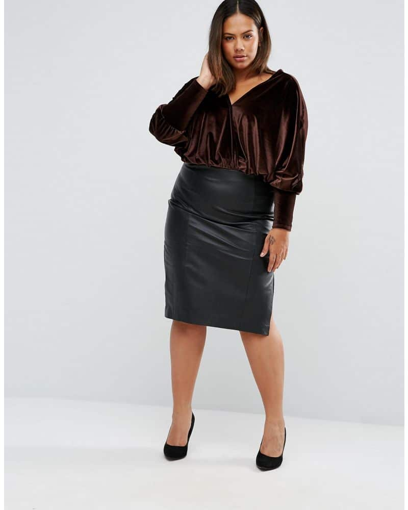 Club L Plus Velvet Bodysuit With Plunge Front