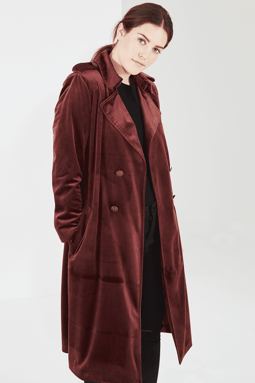 Elvi Plus Size Velvet Trench Coat