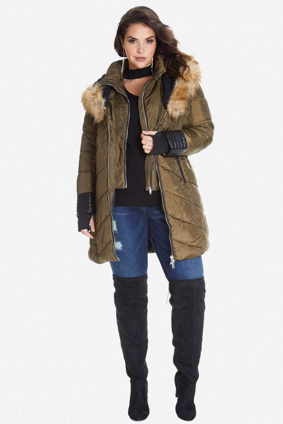 Avalanche Faux Fur Trim Puffer Coat