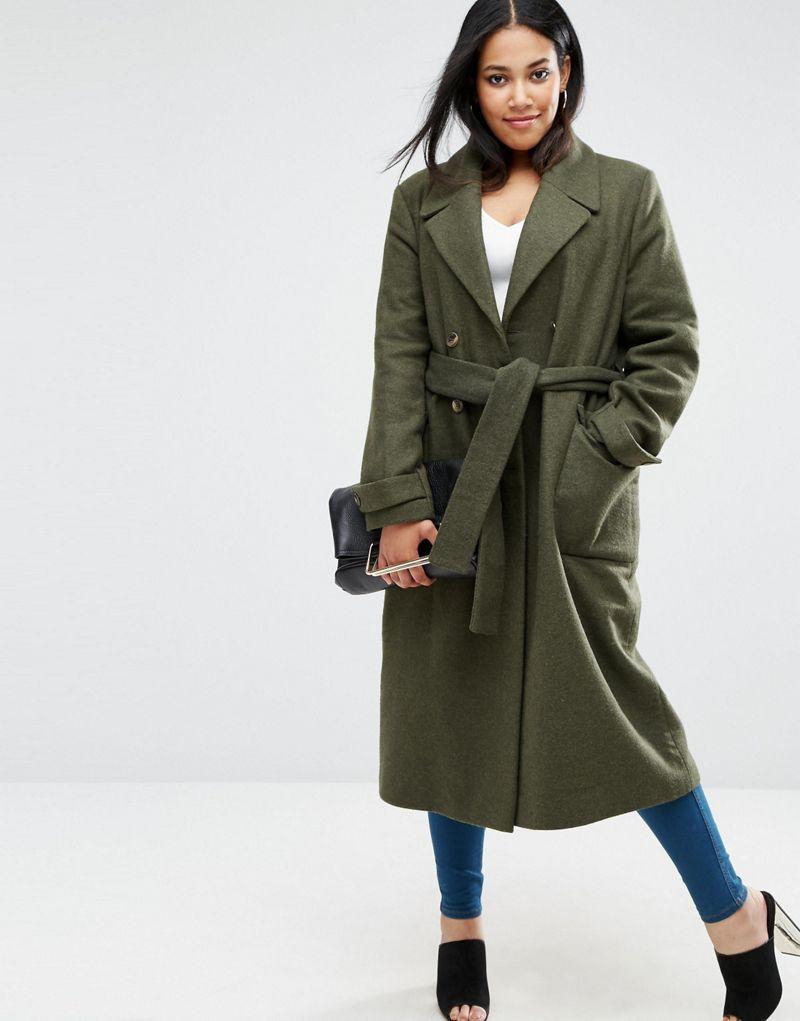 ASOS CURVE Wool Blend Midi Coat with Tie Belt