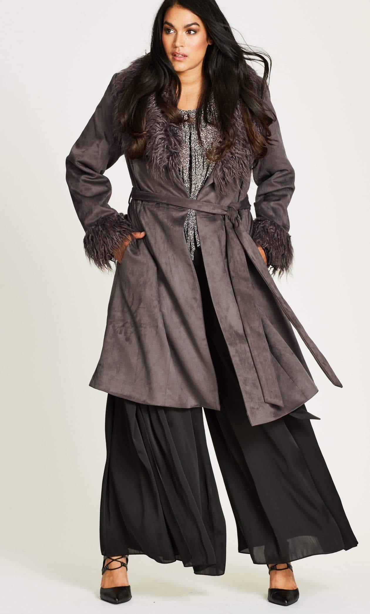 70s Vibe Mocha Plus Size Coat