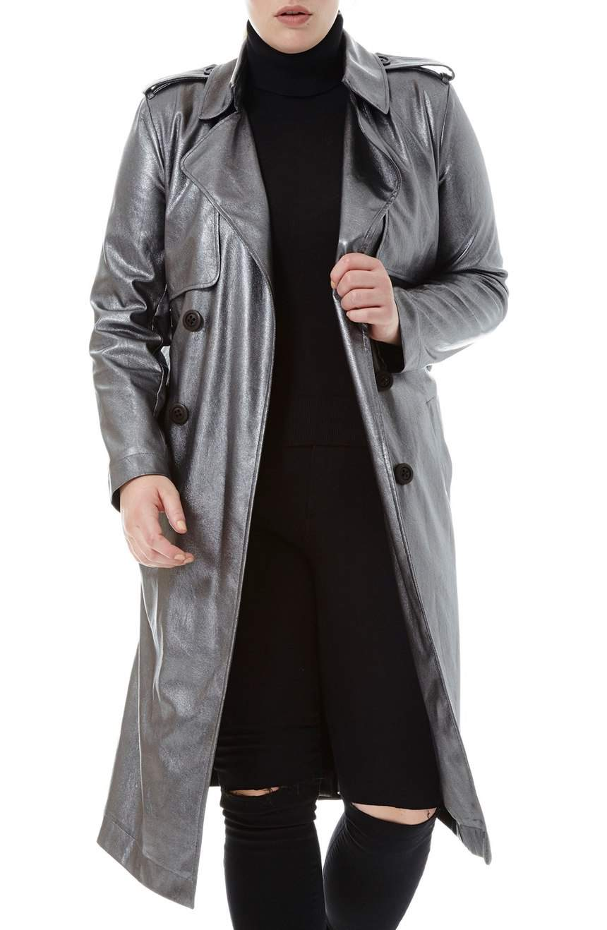 Elvi Plus Size Belted Metallic Faux Leather Trench Coat