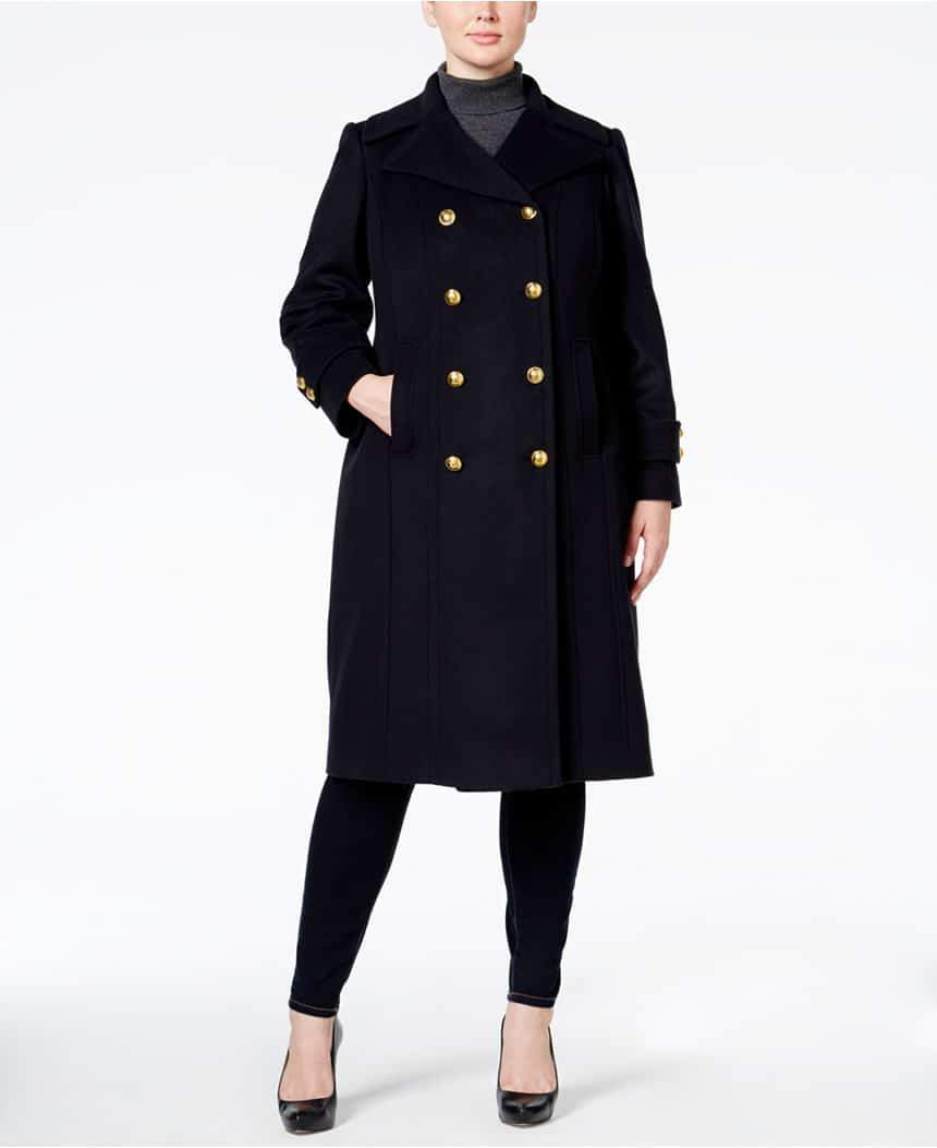Macys Anne Klein Cashmere-Blend Military Walker Coat