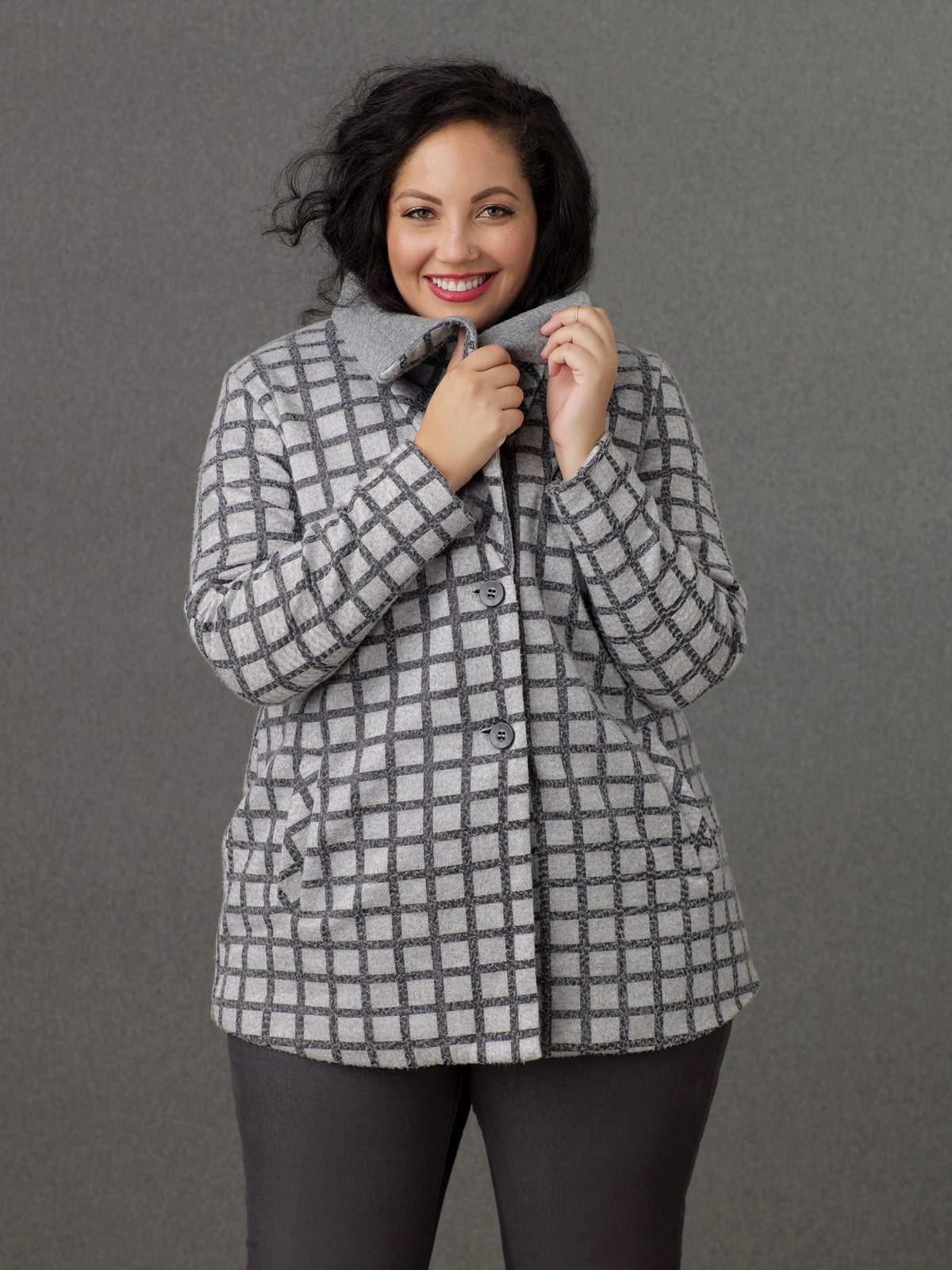 Sears Simply Emma Grey Windowpane Jacket