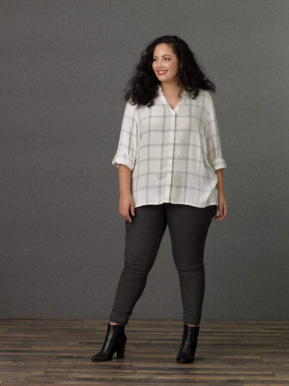 Sears Simply Emma Plus Size White Windowpane Blouse and Jeggings
