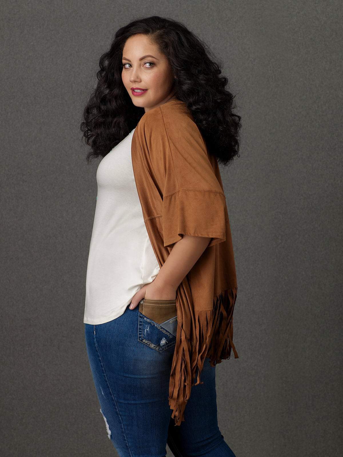 Sears SImply Emma Fringed Kimono Top and Distressed Skinny Jeans