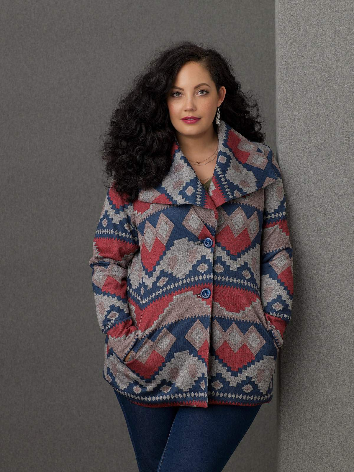 Sears Simply Emma Plus Size Aztec Print Jacket