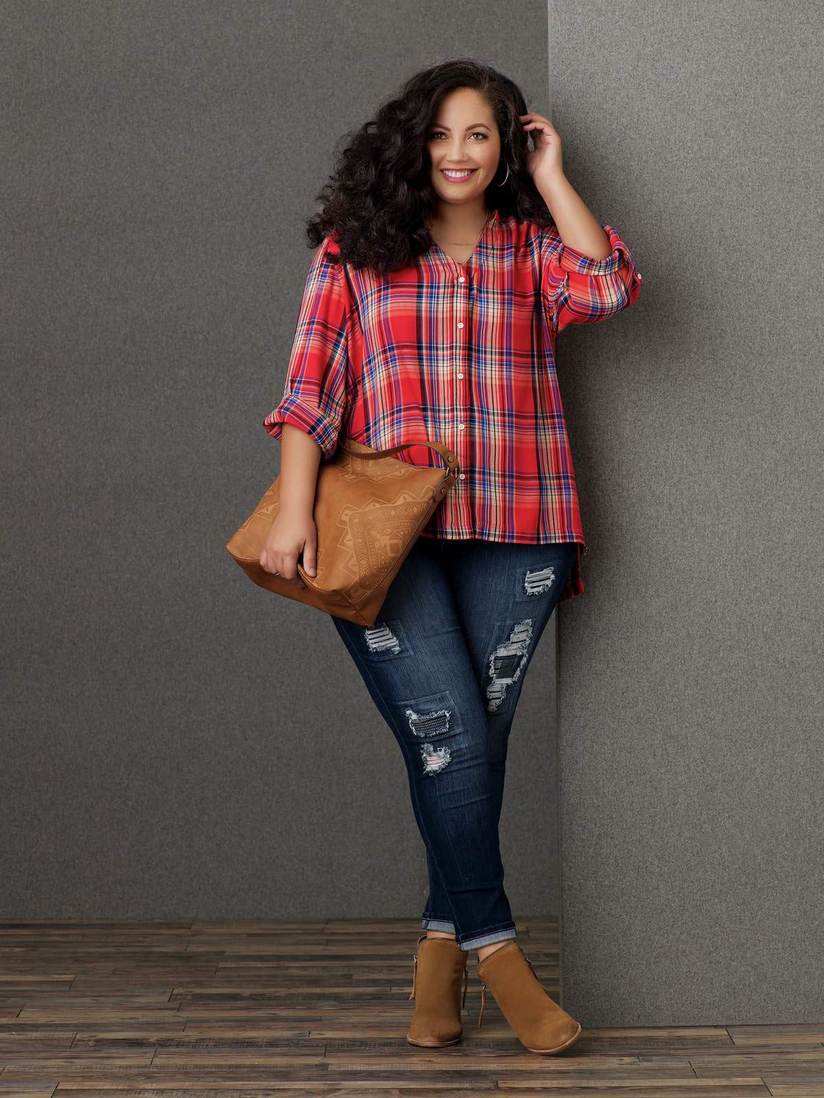 Sears SImply Emma Plus Size Red Plaid Shirt and Cropped Skinny Jeans