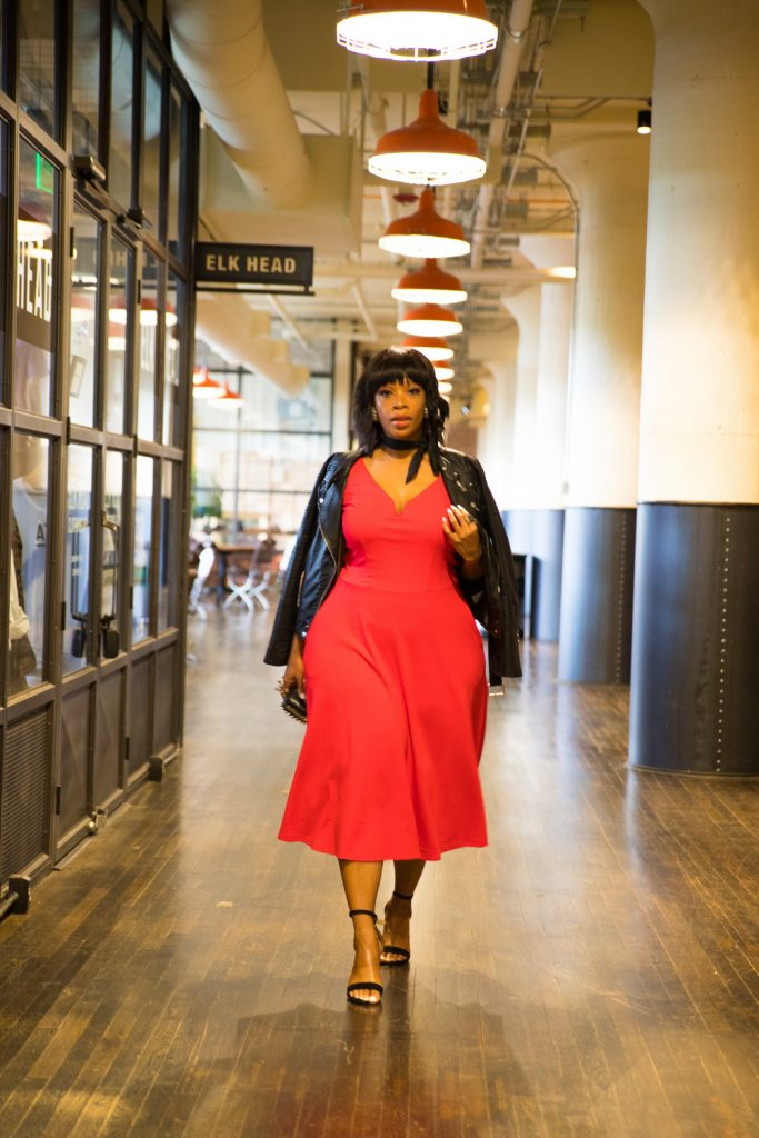 Vee Prince in Red City Chic plus size dress